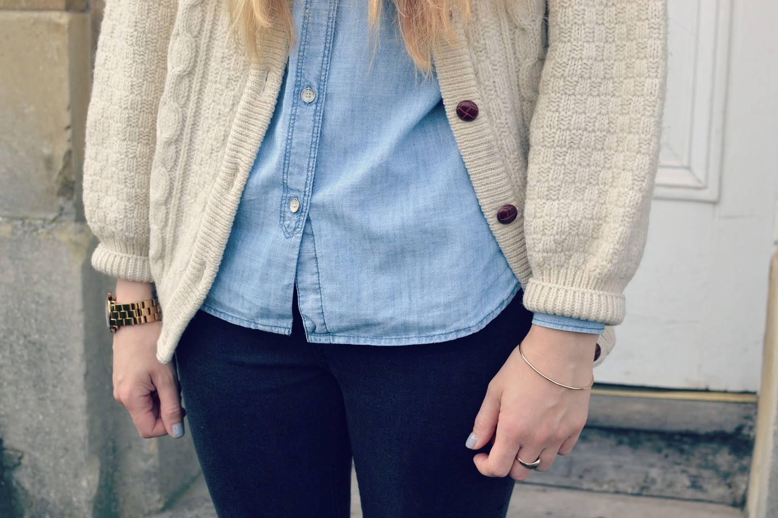 vintage cardigan gap denim shirt