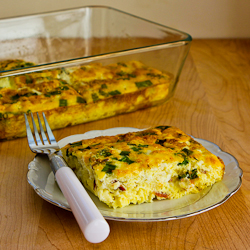 Broken Arm Breakfast Casserole with Cottage Cheese, Bacon, Feta, and ...