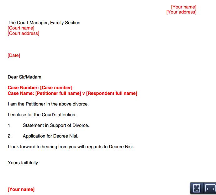 letter template – Divorce Notice Format