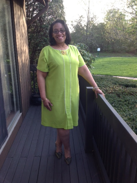 green wool crepe dress