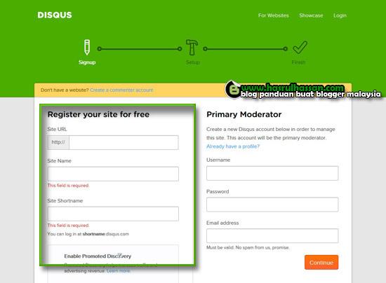 Panduan blogger cara pasang sistem komen disqus dalam blogspot