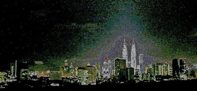 Kuala Lumpur skyline coloured illustration