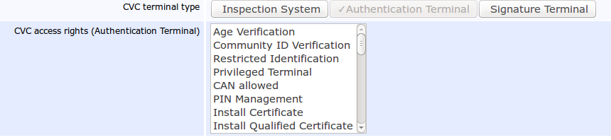 Pic 1: CVC access rights of the Authentication Terminal in EAC 2.10, EJBCA Enterprise 6.2.0. Click to enlarge!
