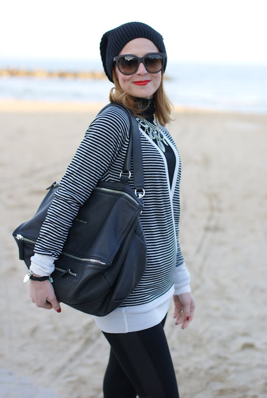 striped sweater, black and white outfit, Dolce &amp; Gabbana red lipstick
