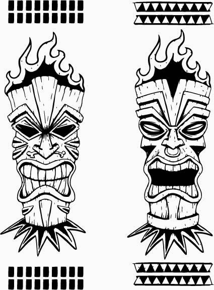 Wooden Tiki Head Drawing Pics For > Easy Tik...