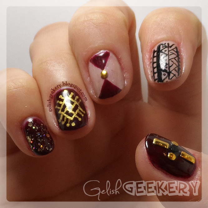 Gelish Fall Tribal Manicure