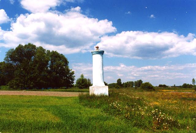 Skronina, wysoka kolumna dźwigająca niegdyś krzyż, umiejscowiona w polu w okolicach nieistniejącego już dworu pochodzącego z XIX wieku. Fot. KW.