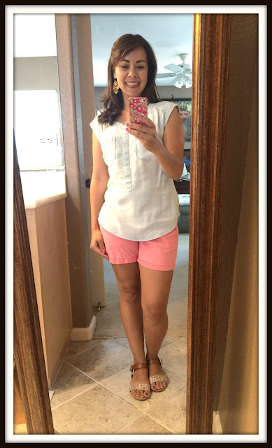 Summer Outfits for Moms Chambray Tank and Shorts