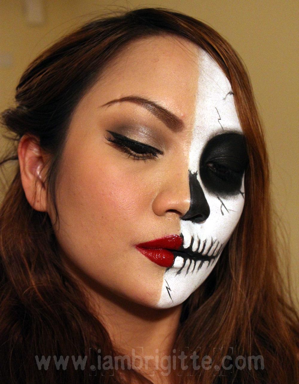 IAMBRIGITTE : Playing with Makeup: Pin Up Girl/Skull Look - Cheap Halloween Makeup