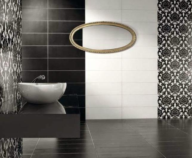 Baños Gris Con Blanco:Baño minimalista decorado con azulejos blancos y grises Un baño muy