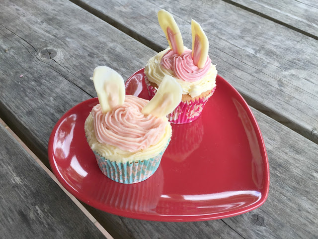 Cupcakes with white rabbit ears