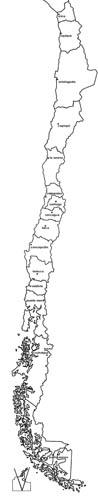 Mapa blanco y negro de Chile