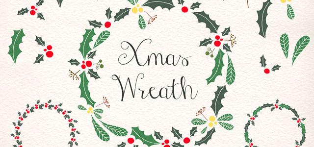 クリスマスリースの飾り枠が作れる柊の葉と実の無料イラスト素材セット