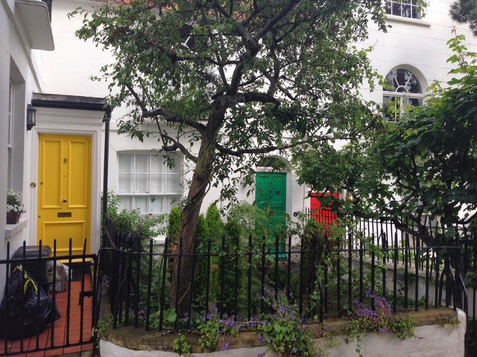 Brightly coloured doors, Holly Walk, Hampstead, London NW3