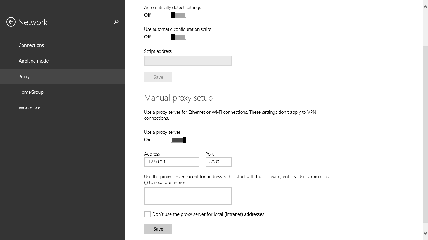 Windows 8.1 proxy settings for simple server