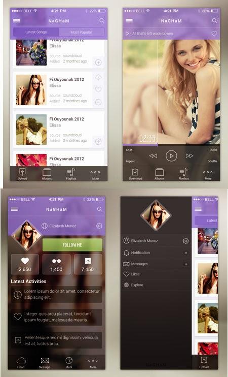 Music App UI PSD for IOS 7