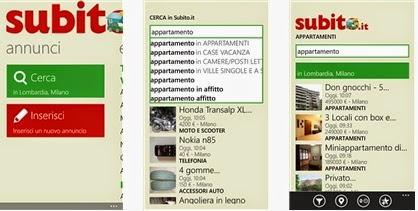 SUBITO APPLICAZIONE UFFICIALE PER DISPOSITIVI MOBILI CON WINDOWS PHONE IN ITALIANO