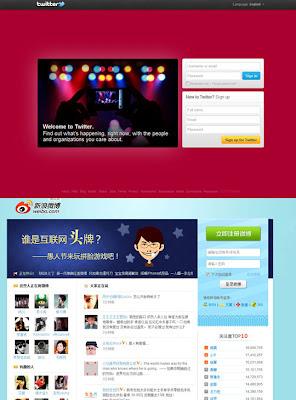 Twitter layout versus Sina Weibo Layout