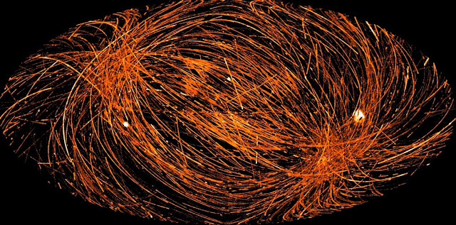 Bright strips of X-ray data record the slew history of ESA's XMM-Newton as it moves its focus between different objects in the sky. The image contains information of over 1200 individual slews made between 2001 and 2012, and covers about 62% of the sky. It is a mosaic of 73 178 individual images of 1 x 0.5 degrees and is shown in Galactic projection, with the Galactic plane lying across the centre of the image. The data cover an energy range of 0.2–2 keV.  A number of well-known X-ray sources are seen in the image, including the Vela supernova remnant (the bright white feature at the far right), the Cygnus Loop (far left), Scorpius X-1 (just above the image centre), and the Small and Large Magellanic Clouds (in the south ecliptic pole, within the concentrated region of overlapping slews at the bottom right of the image). Copyright A. Read (University of Leicester)/ESA