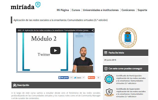 Curso Online Aplicación de las redes sociales a la enseñanza: Comunidades virtuales miriadax
