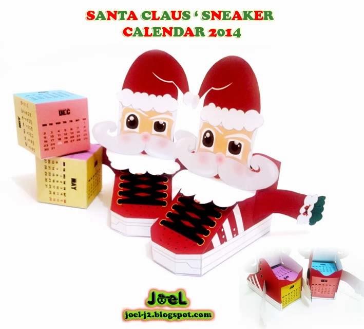 Santa Sneaker Paper Toy 2014 Calendar
