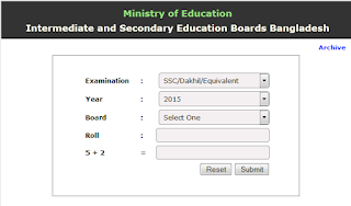 SSC Exam Result 2015 with Mark Sheet