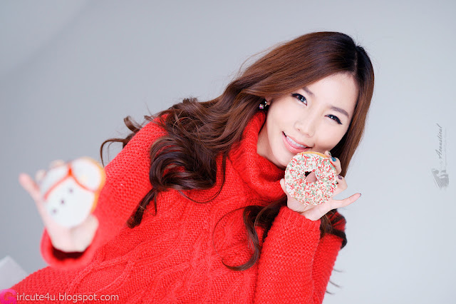 1 Lee Ji Min in Sweet Red-Very cute asian girl - girlcute4u.blogspot.com