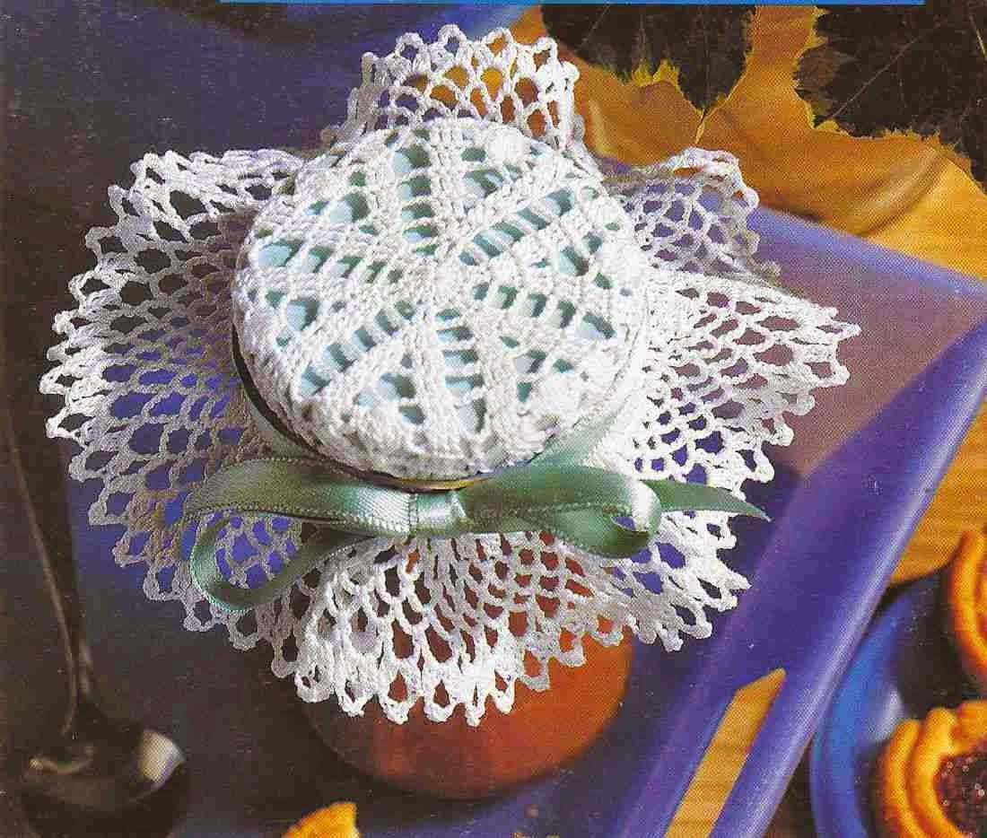 "#85 Adorno para Frasco a Crochet ""Meriendas Festivas"""