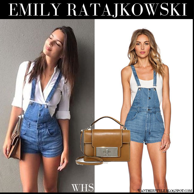 Emily Ratajkowski in denim Ksubi short romper with white blouse and brown bag Marc Jacobs Mischief what she wore july 18