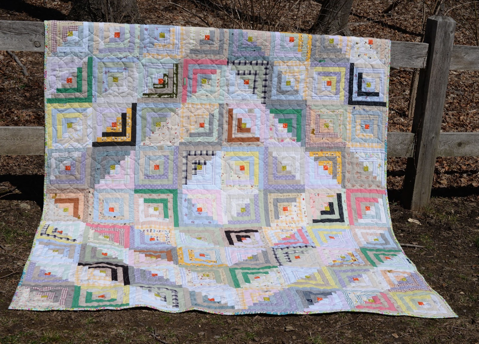 lakumuki: wildflowers log cabin quilt : quilt from old shirts - Adamdwight.com