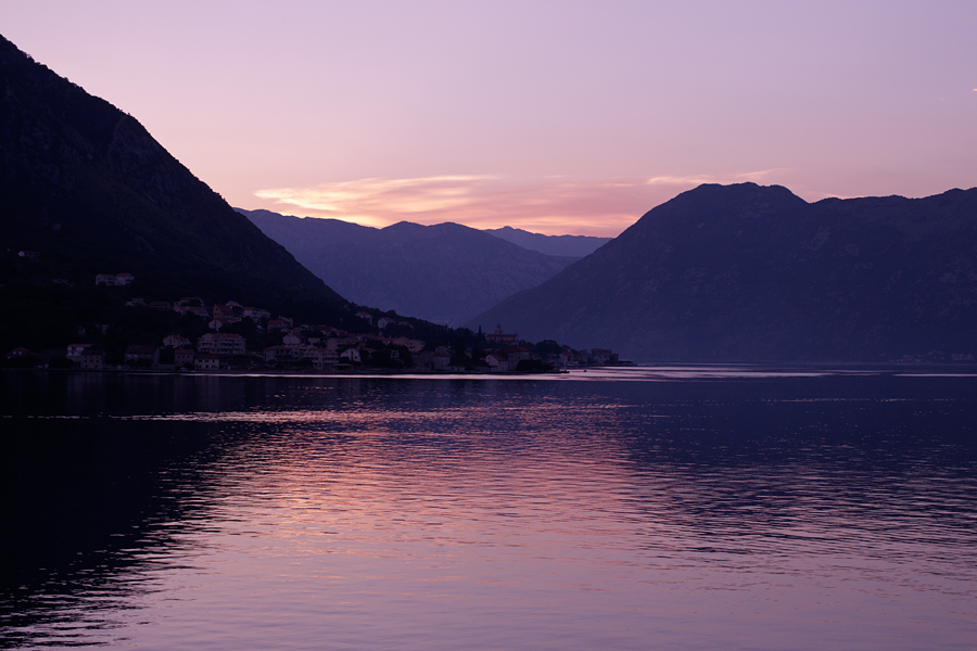 Черногория, закат, Котор, Которский залив