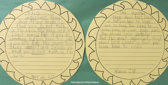 "photo of: ""What I've learned in First Grade"" Writing Samples"
