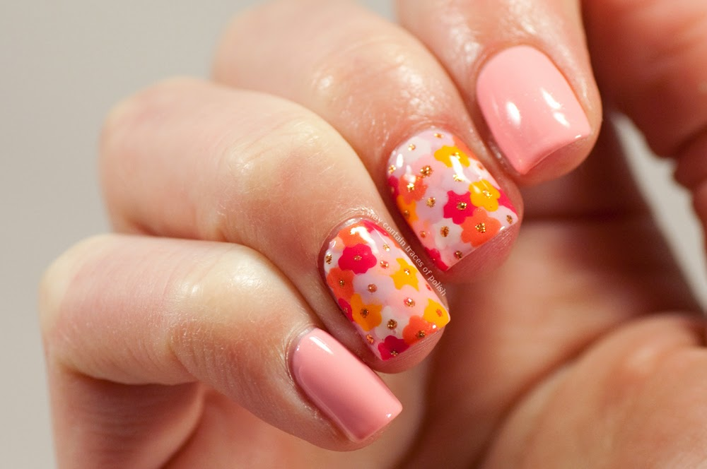 All over flower nails - May contain traces of polish