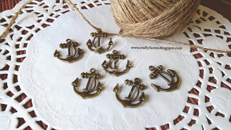 Vintage Bronze Nautical Anchor Charm with Burlap Jute String, Wedding Embellishment Malaysia