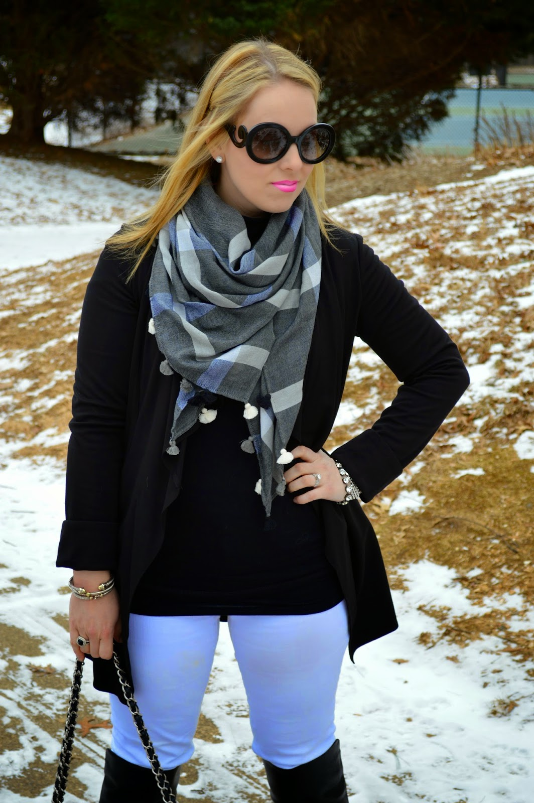 black-white-plaid-scarf