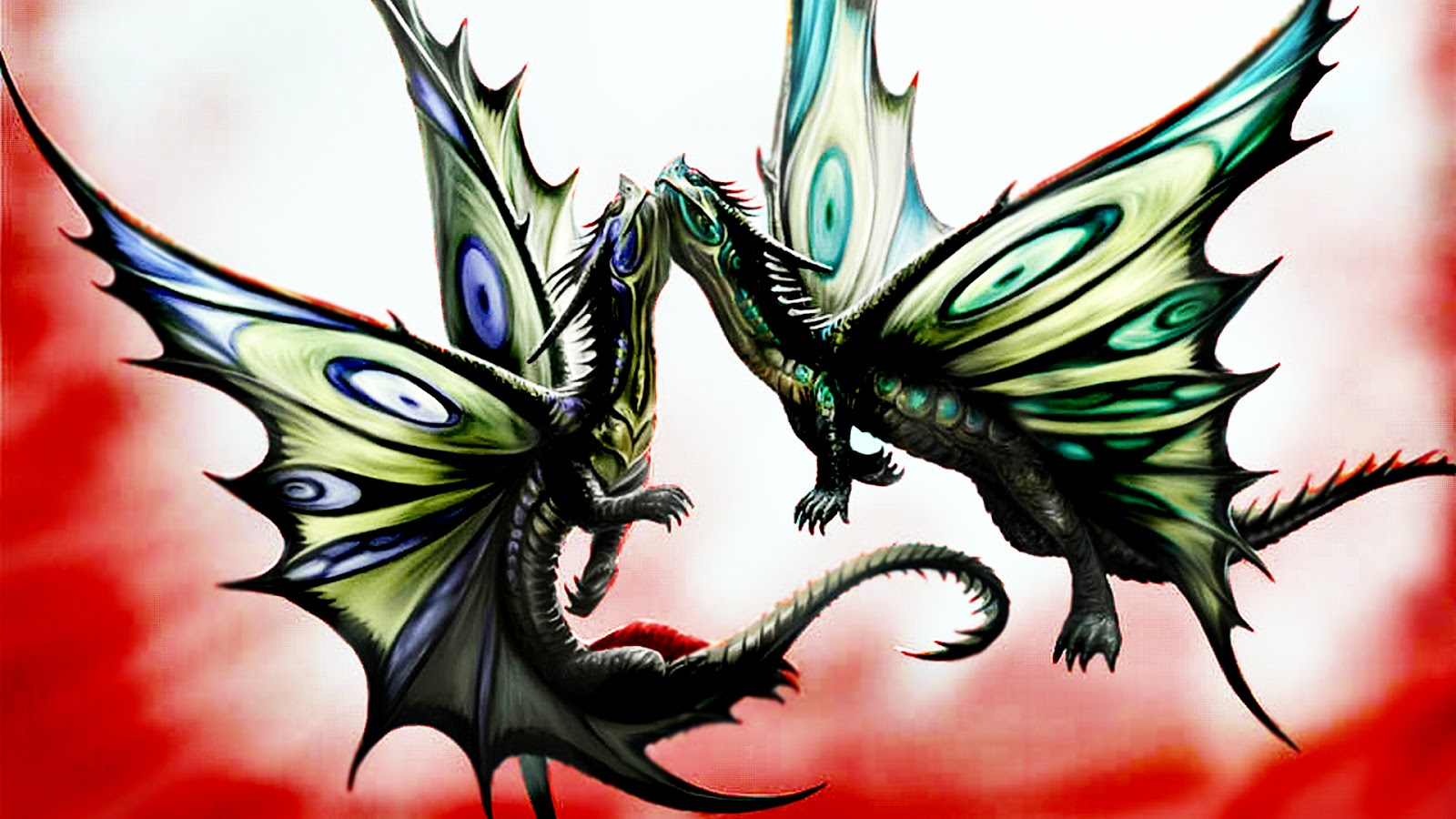 Romantic drawing of two dragons flying together