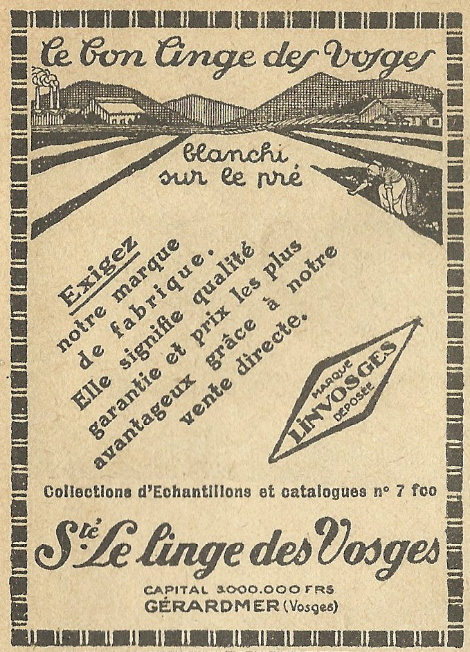 old ads are funny 1930s french ad le bon linge des vosges the good clothes of the vosges. Black Bedroom Furniture Sets. Home Design Ideas