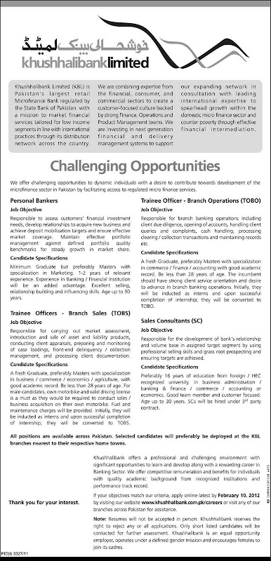 Khushhali Bank Limited Jobs - Daily Pak Jobs