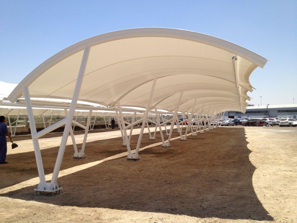 PTFE Car Parking Shade Structure In UAE PTFE CAR PARKING
