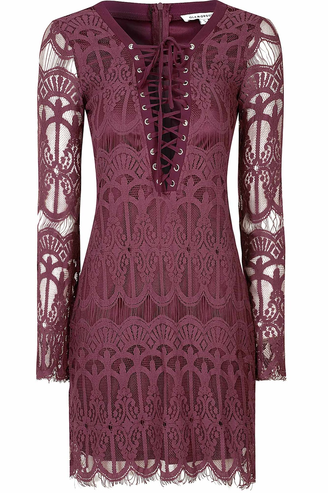Purple Long Sleeve Lace Dress from Glamorous.com