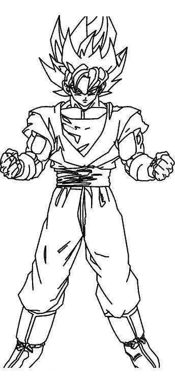 Goku como Super Sayayin para colorear