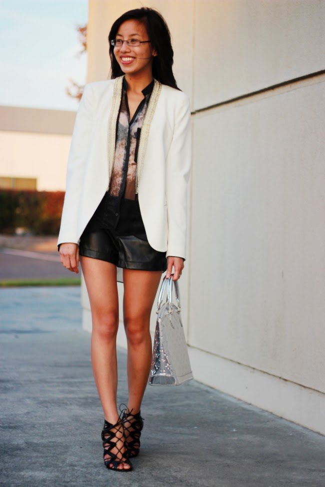 maje boyfriend blazer outfit idea leather shorts