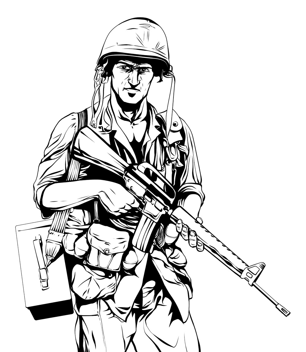 Warriors in art vietnam war soldier by jeremiah lambert for Vietnam coloring pages