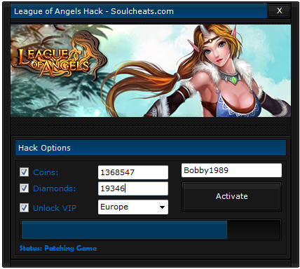 League of Angels - Hack Pack 2014 main screen