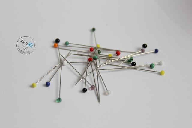 szpilki z łepkiem kolorowym, długie szpilki, materiał nauka szycia