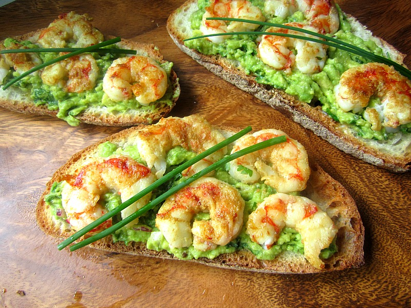 What S For Lunch Tartines W Grilled Shrimp Avocado