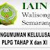 Pengumuman Kelulusan PLPG Tahap X dan XI LPTK Rayon 206 IAIN Walisongo Semarang