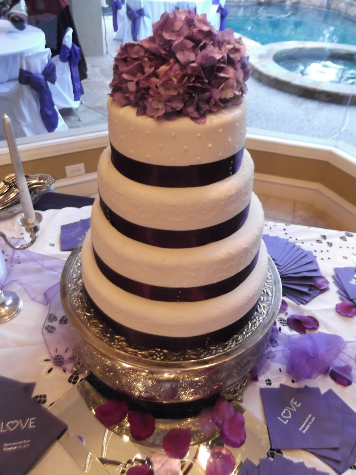 Cakes by Linsay Purple and White Wedding Cake