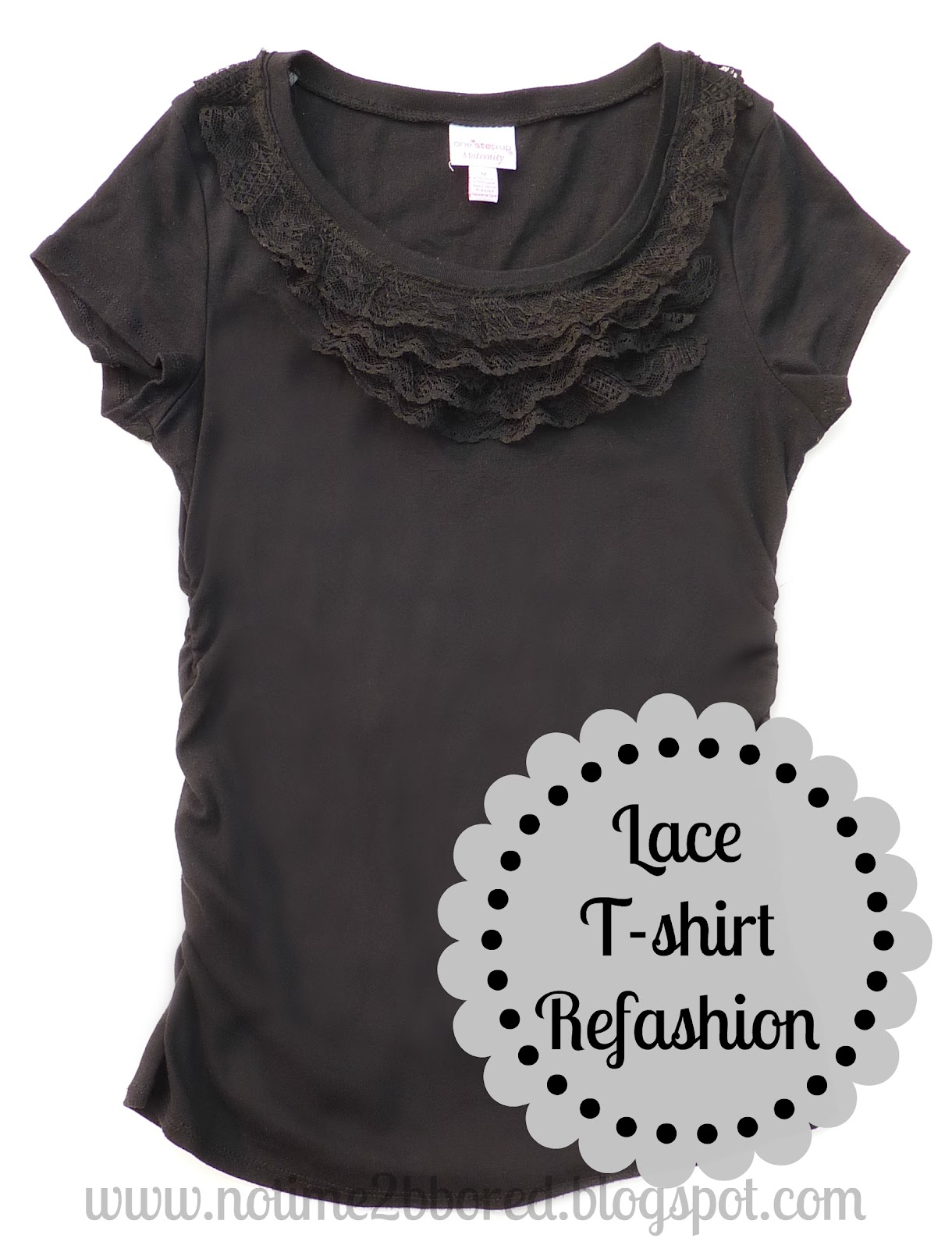 No time to be bored easy lace ruffle t shirt refashion for Very cheap t shirts