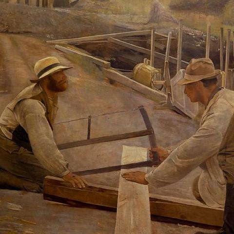Udsnit fra 'Arbejdere ved en vandledning ved Søndersø' af L.A. Ring